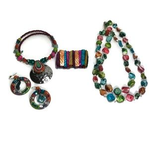 Fun Colorful Necklaces Earrings Stretch Bracelet